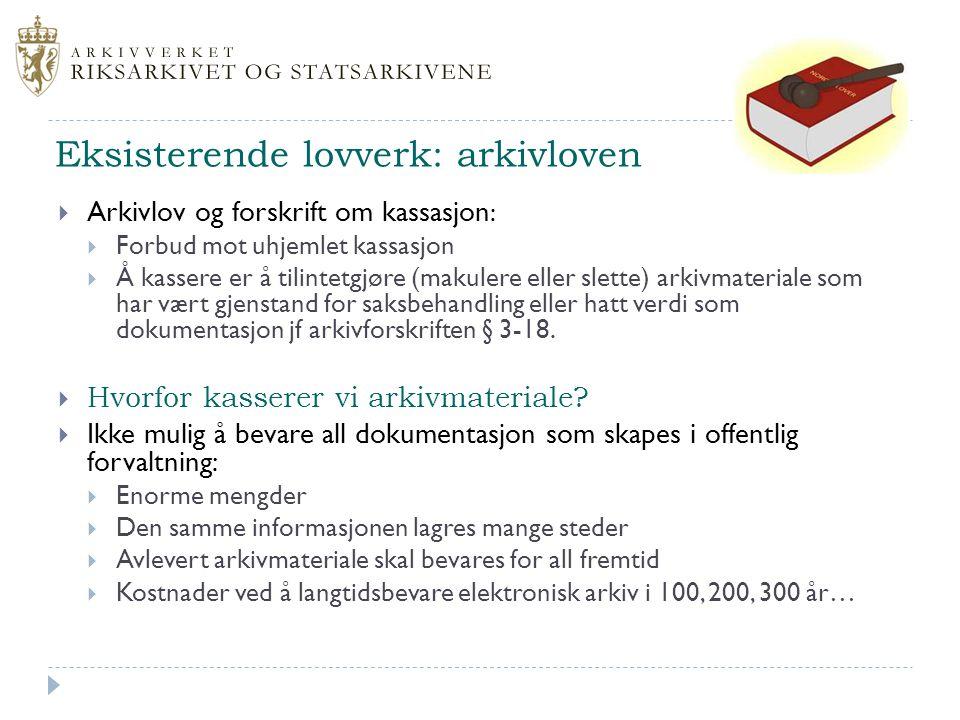 Eksisterende lovverk: arkivloven
