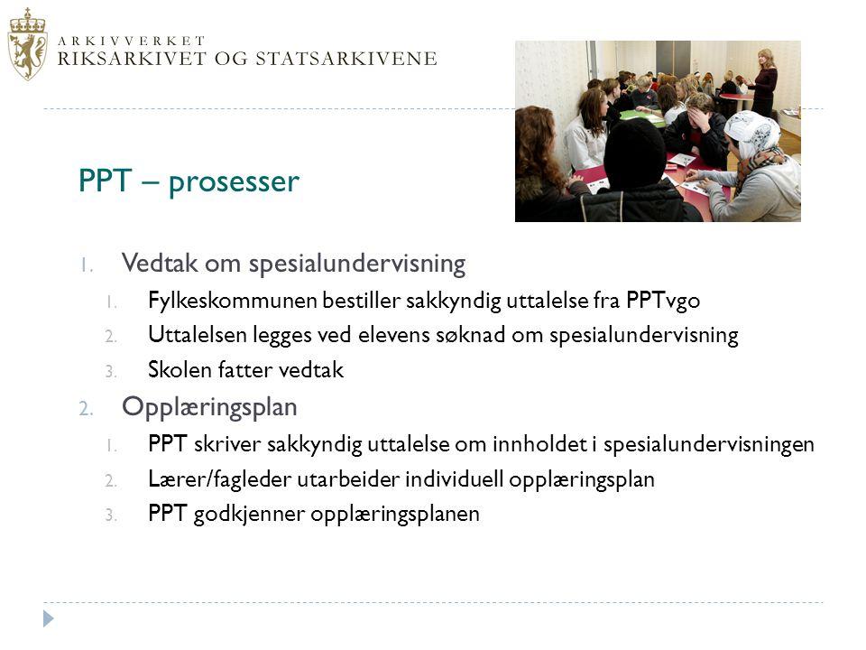 PPT – prosesser Vedtak om spesialundervisning Opplæringsplan