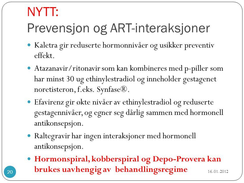 NYTT: Prevensjon og ART-interaksjoner