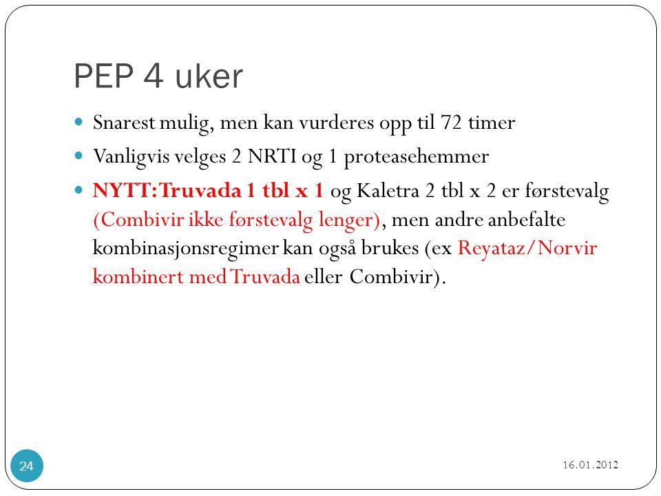PEP 4 uker Snarest mulig, men kan vurderes opp til 72 timer