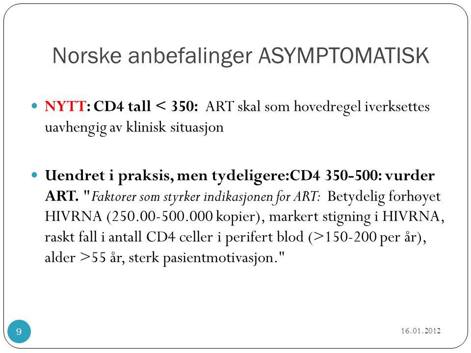 Norske anbefalinger ASYMPTOMATISK