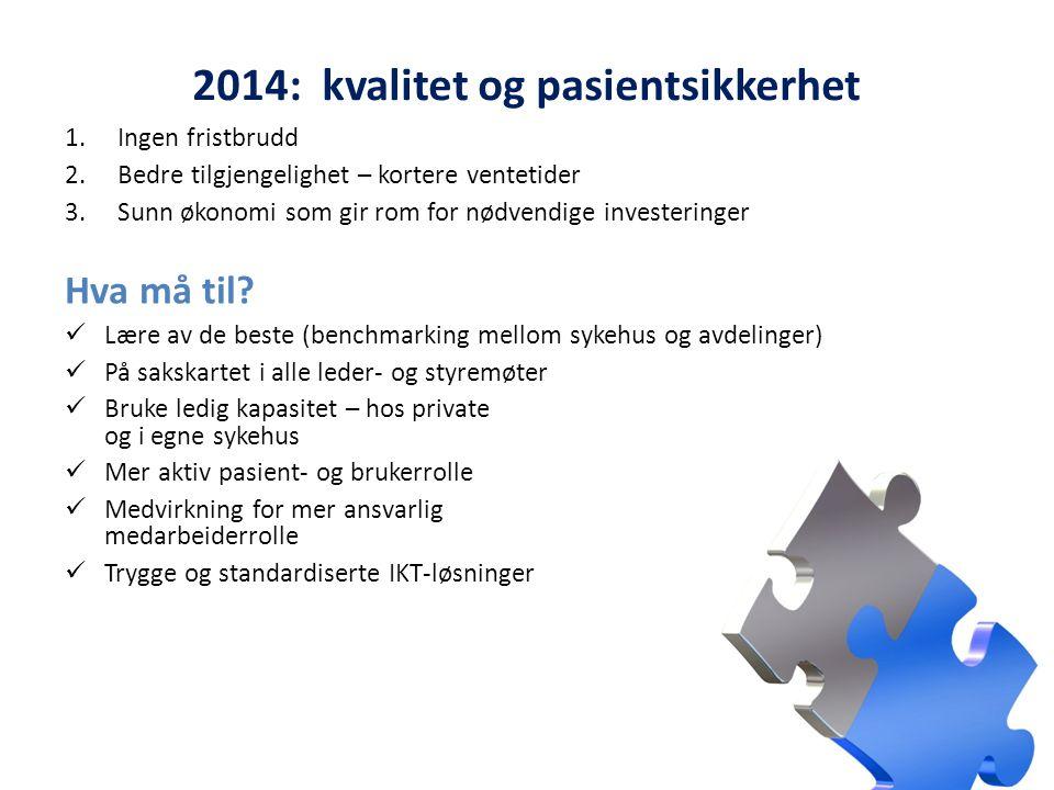 2014: kvalitet og pasientsikkerhet