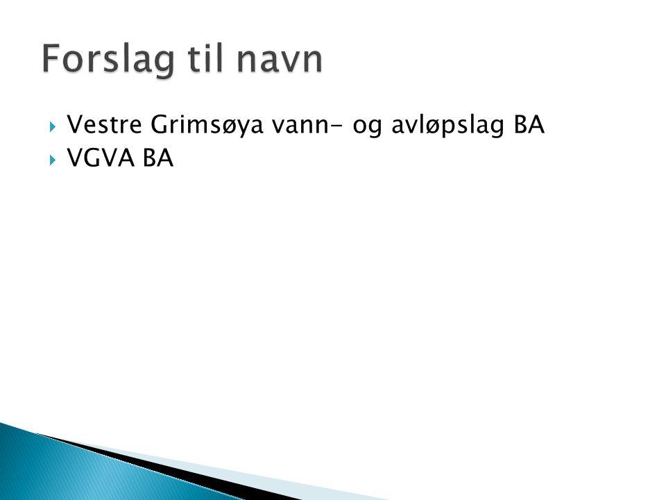 Forslag til navn Vestre Grimsøya vann- og avløpslag BA VGVA BA