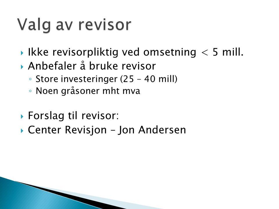 Valg av revisor Ikke revisorpliktig ved omsetning < 5 mill.