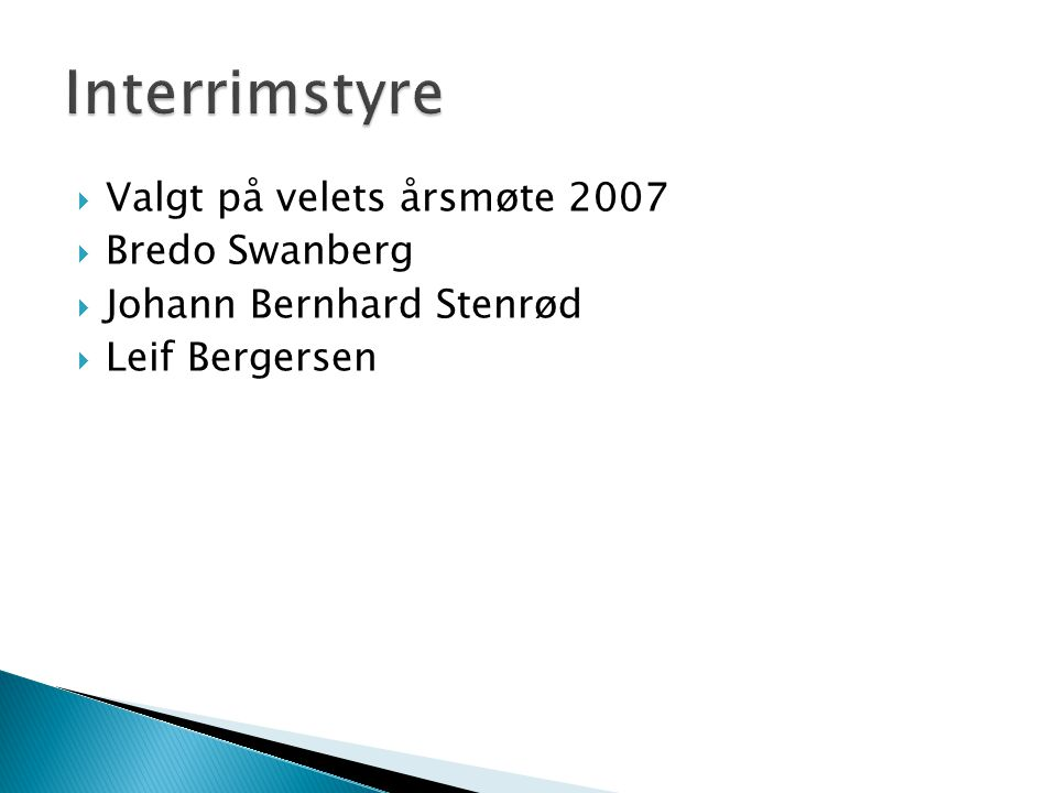 Interrimstyre Valgt på velets årsmøte 2007 Bredo Swanberg