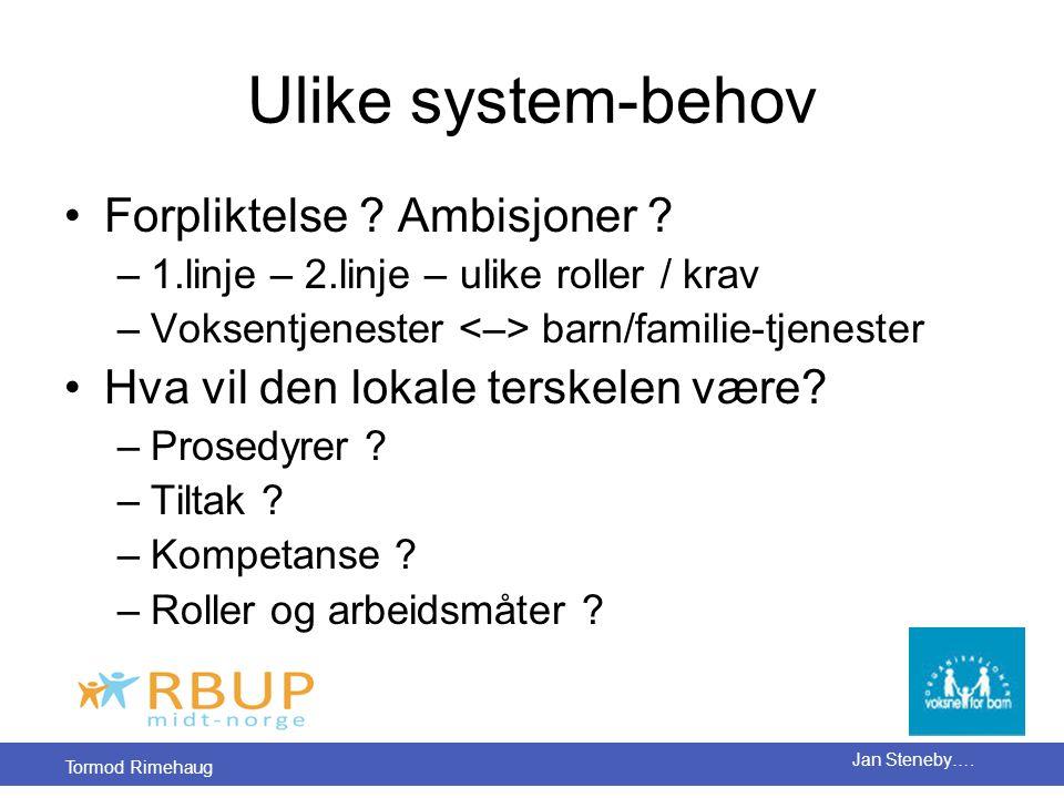 Ulike system-behov Forpliktelse Ambisjoner