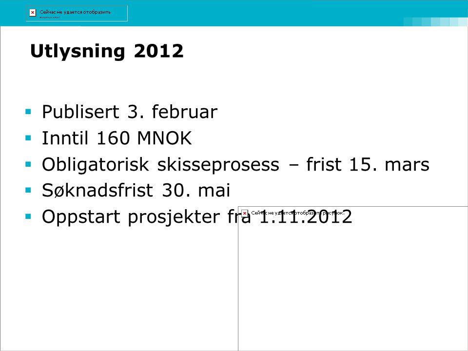 Obligatorisk skisseprosess – frist 15. mars Søknadsfrist 30. mai