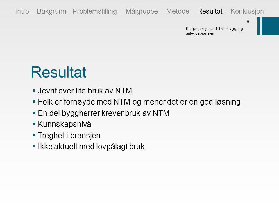Resultat Jevnt over lite bruk av NTM