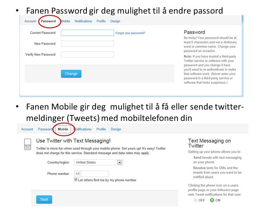 Fanen Password gir deg mulighet til å endre passord
