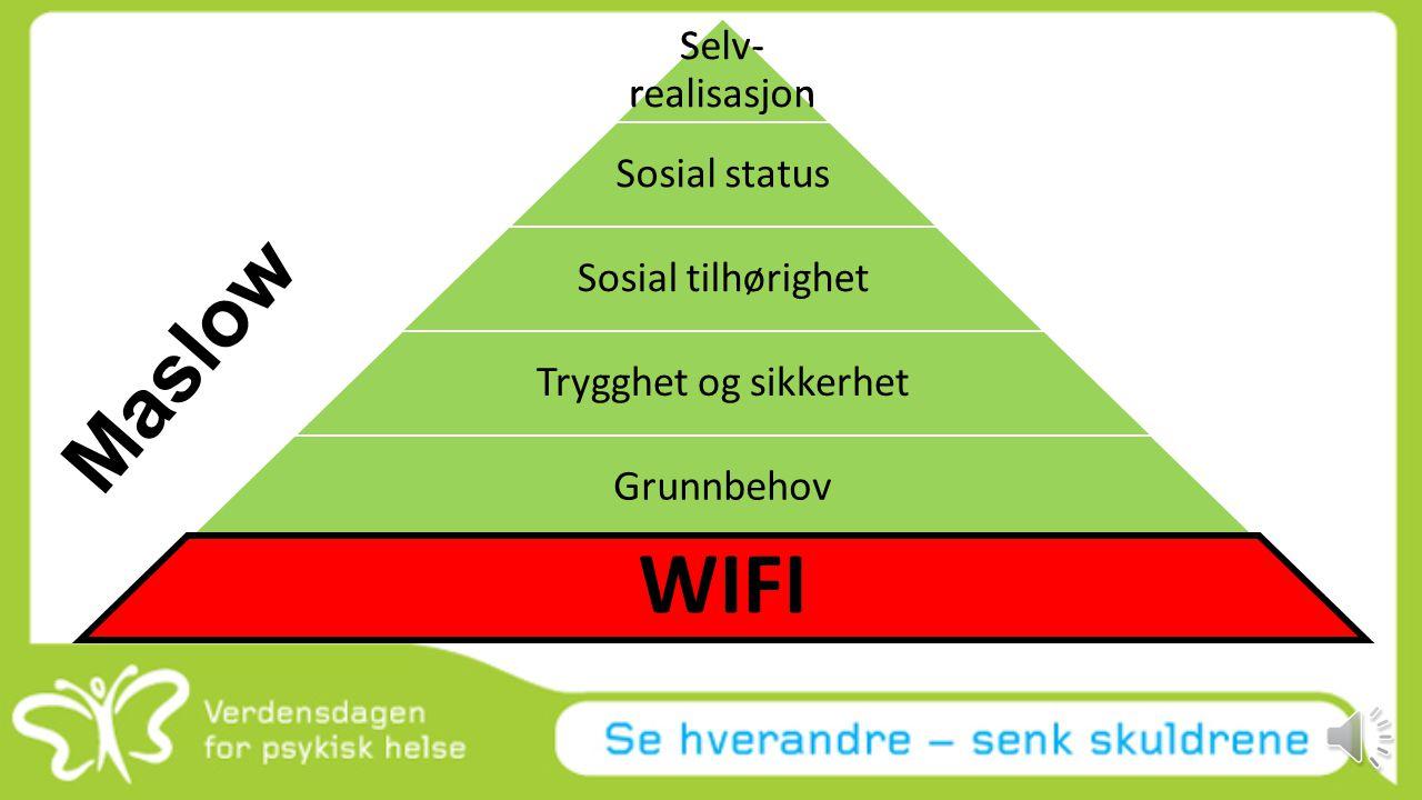 WIFI Maslow Selv-realisasjon Selv-realisasjon Sosial status