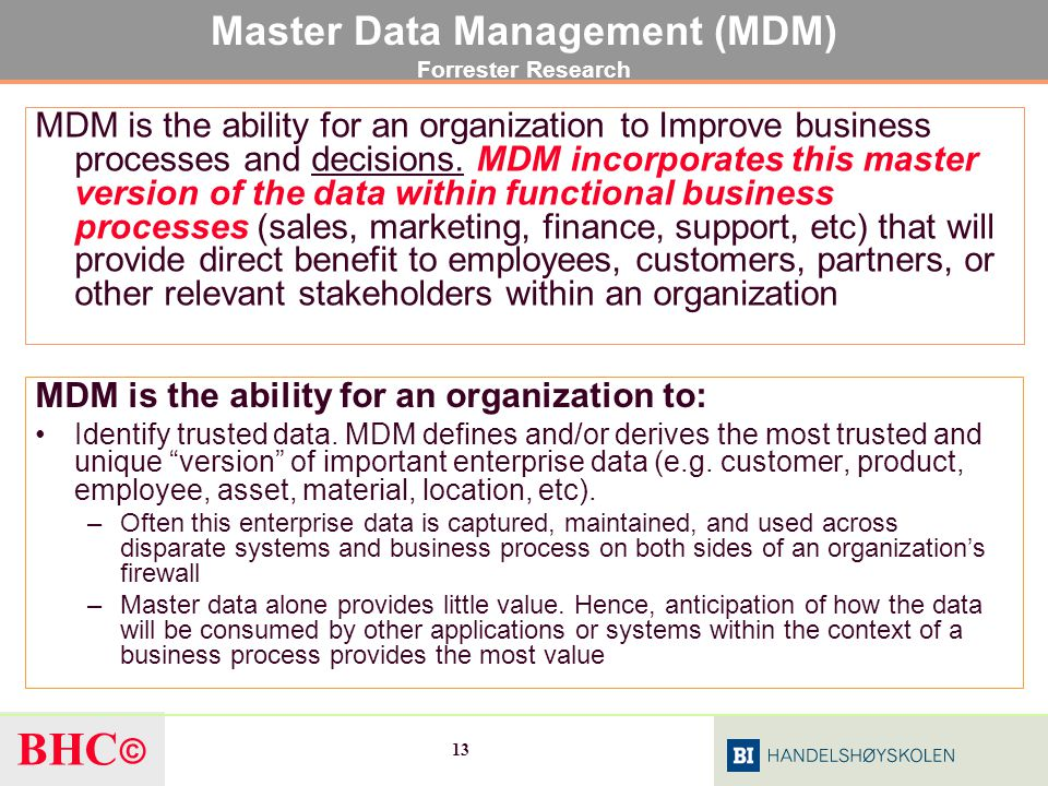 Master Data Management (MDM) Forrester Research