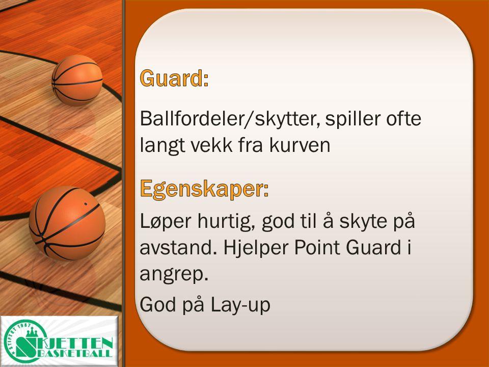 Guard: Ballfordeler/skytter, spiller ofte langt vekk fra kurven. Egenskaper: