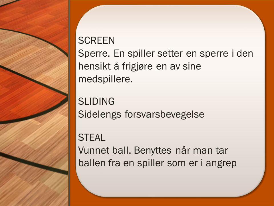 SCREEN Sperre. En spiller setter en sperre i den hensikt å frigjøre en av sine medspillere.