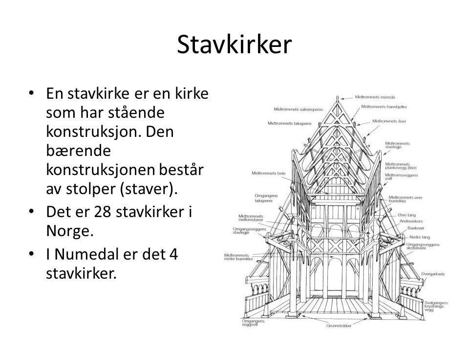 Stavkirker En stavkirke er en kirke som har stående konstruksjon. Den bærende konstruksjonen består av stolper (staver).