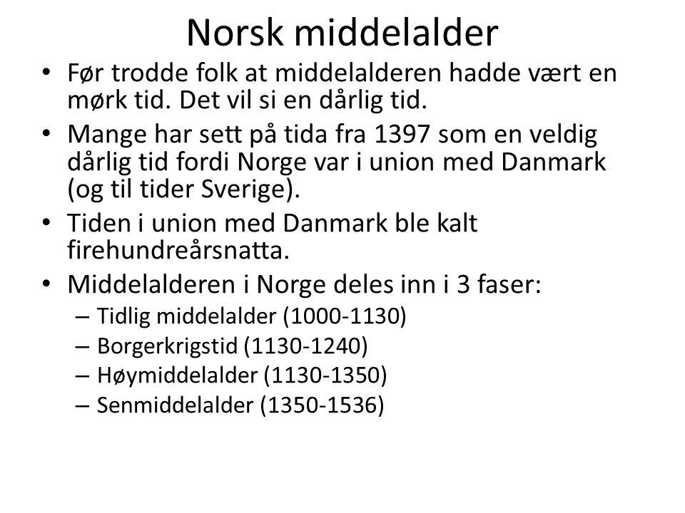 Norsk middelalder Før trodde folk at middelalderen hadde vært en mørk tid. Det vil si en dårlig tid.
