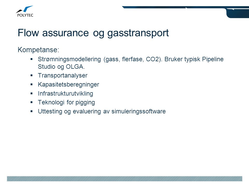 Flow assurance og gasstransport