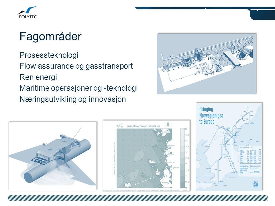 Fagområder Prosessteknologi Flow assurance og gasstransport Ren energi Maritime operasjoner og -teknologi Næringsutvikling og innovasjon