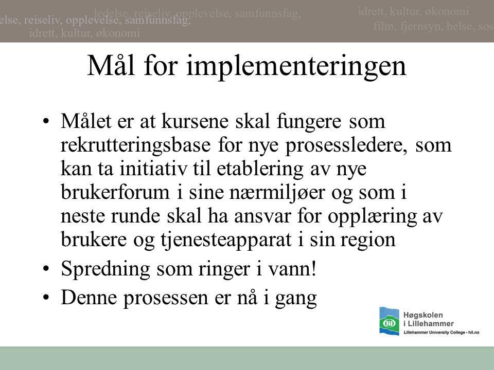 Mål for implementeringen
