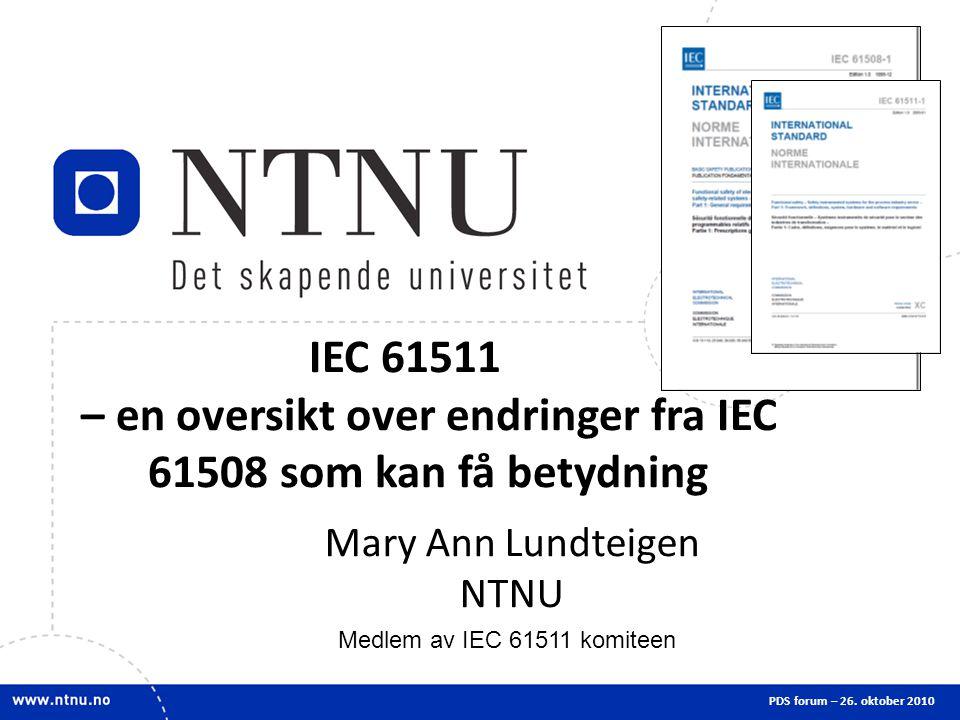 IEC 61511 – en oversikt over endringer fra IEC 61508 som kan få betydning