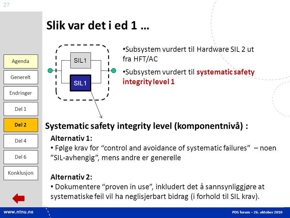 Slik var det i ed 1 … Agenda. Endringer. Del 1. Del 2. Del 6. Generelt. Konklusjon. Del 4. Subsystem vurdert til Hardware SIL 2 ut fra HFT/AC.