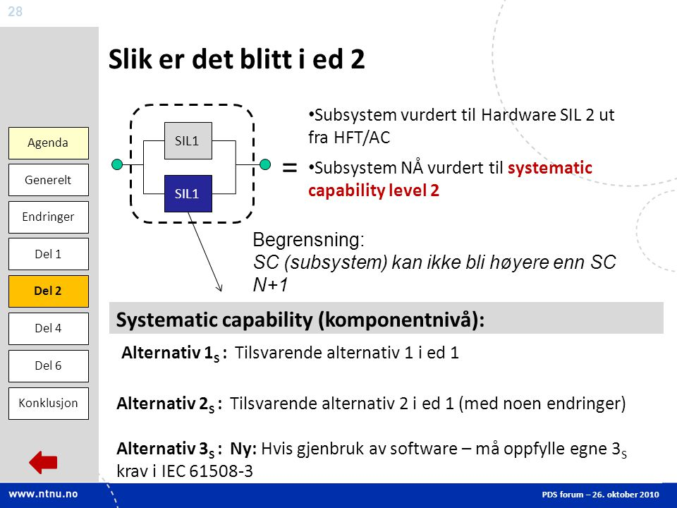 = Slik er det blitt i ed 2 Systematic capability (komponentnivå):