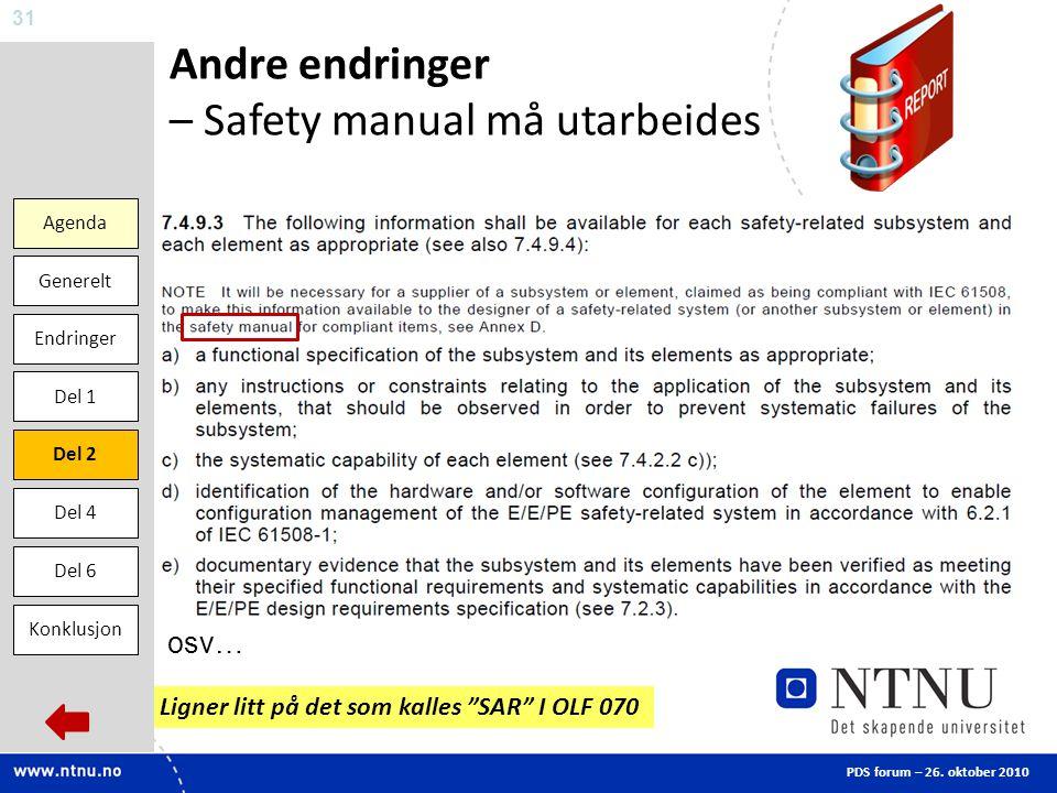 Andre endringer – Safety manual må utarbeides
