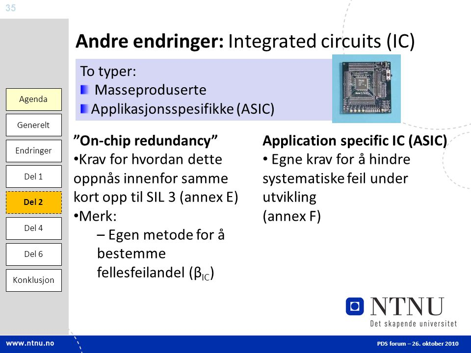 Andre endringer: Integrated circuits (IC)