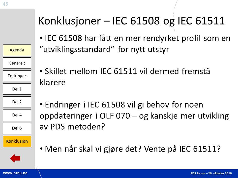 Konklusjoner – IEC 61508 og IEC 61511