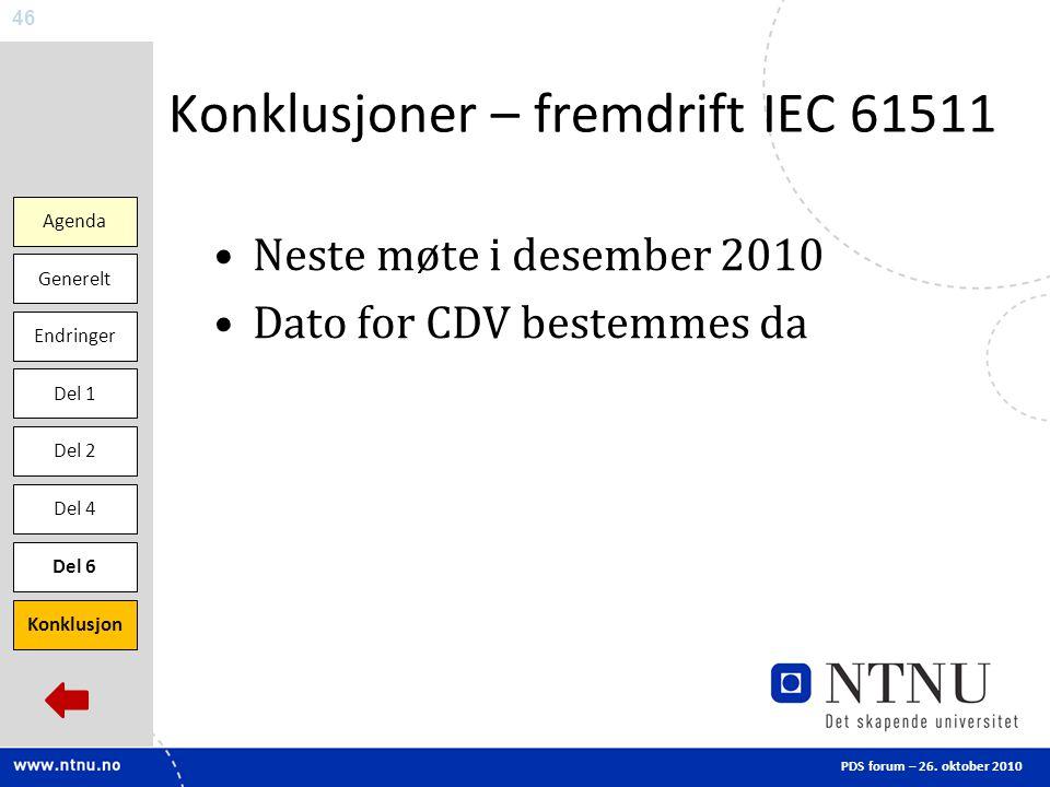 Konklusjoner – fremdrift IEC 61511