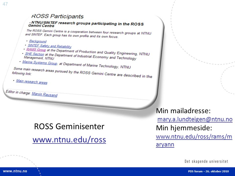 ROSS Geminisenter www.ntnu.edu/ross