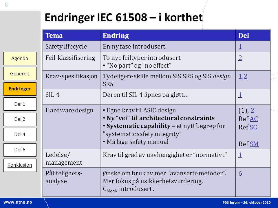 Endringer IEC 61508 – i korthet