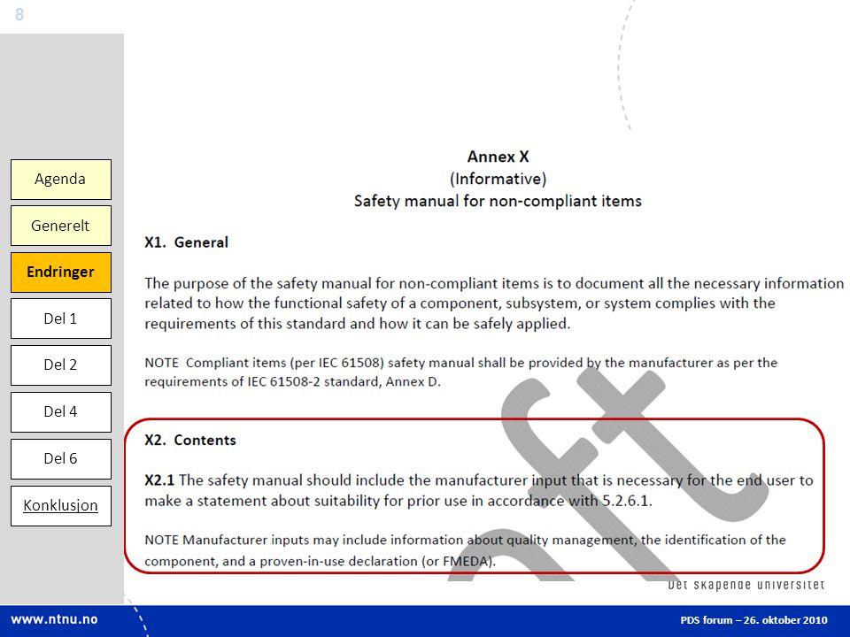 Agenda Endringer Del 1 Del 2 Del 6 Generelt Konklusjon Del 4