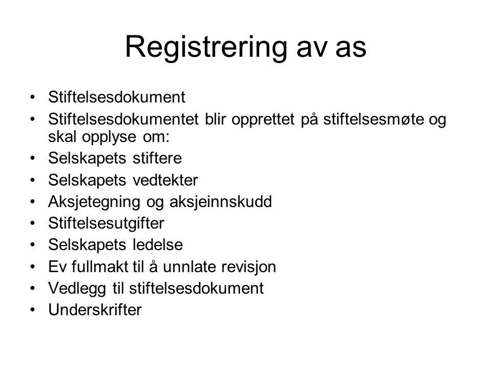 Registrering av as Stiftelsesdokument