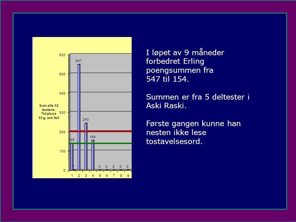 I løpet av 9 måneder forbedret Erling poengsummen fra. 547 til 154. Summen er fra 5 deltester i Aski Raski.