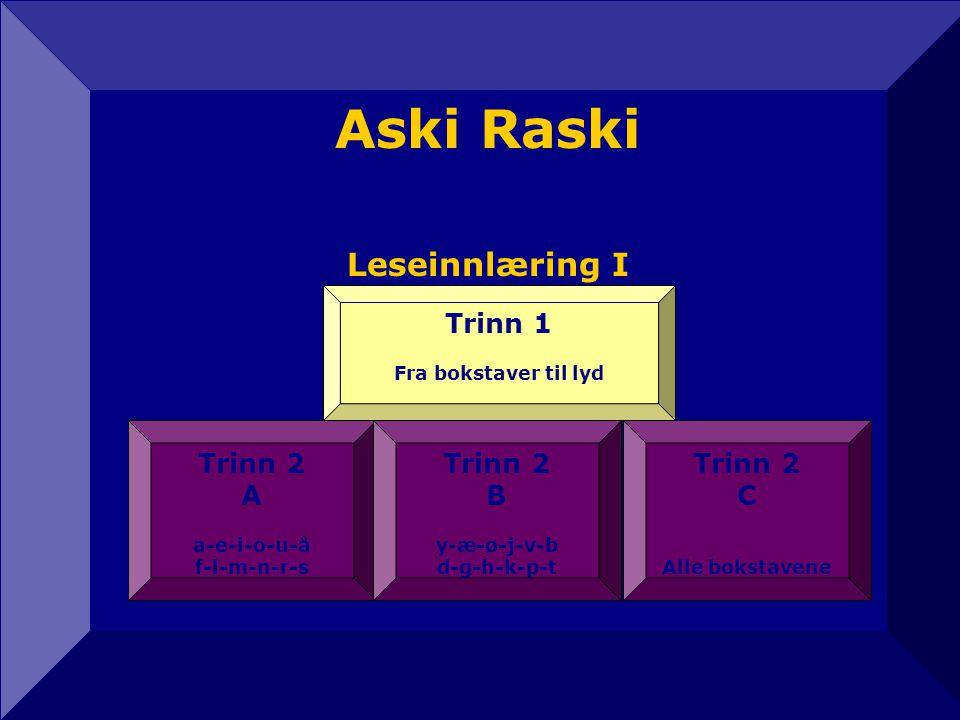 Aski Raski Leseinnlæring I 12 Trinn 1 Trinn 2 A Trinn 2 B Trinn 2 C