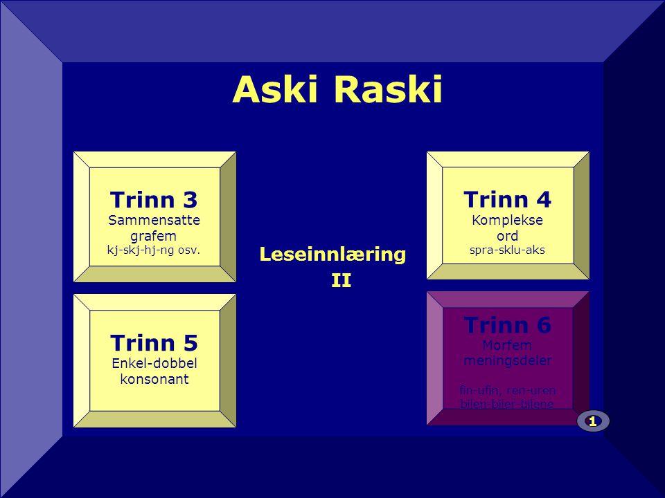 Aski Raski 12 Trinn 3 Trinn 4 Trinn 5 Trinn 6 Leseinnlæring II
