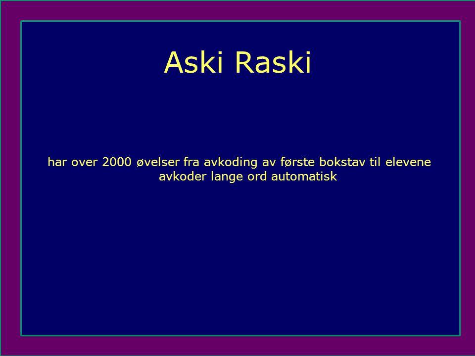 Aski Raski har over 2000 øvelser fra avkoding av første bokstav til elevene avkoder lange ord automatisk.