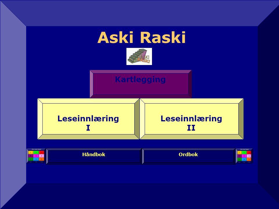 Aski Raski12 Kartlegging Leseinnlæring I Leseinnlæring II Håndbok