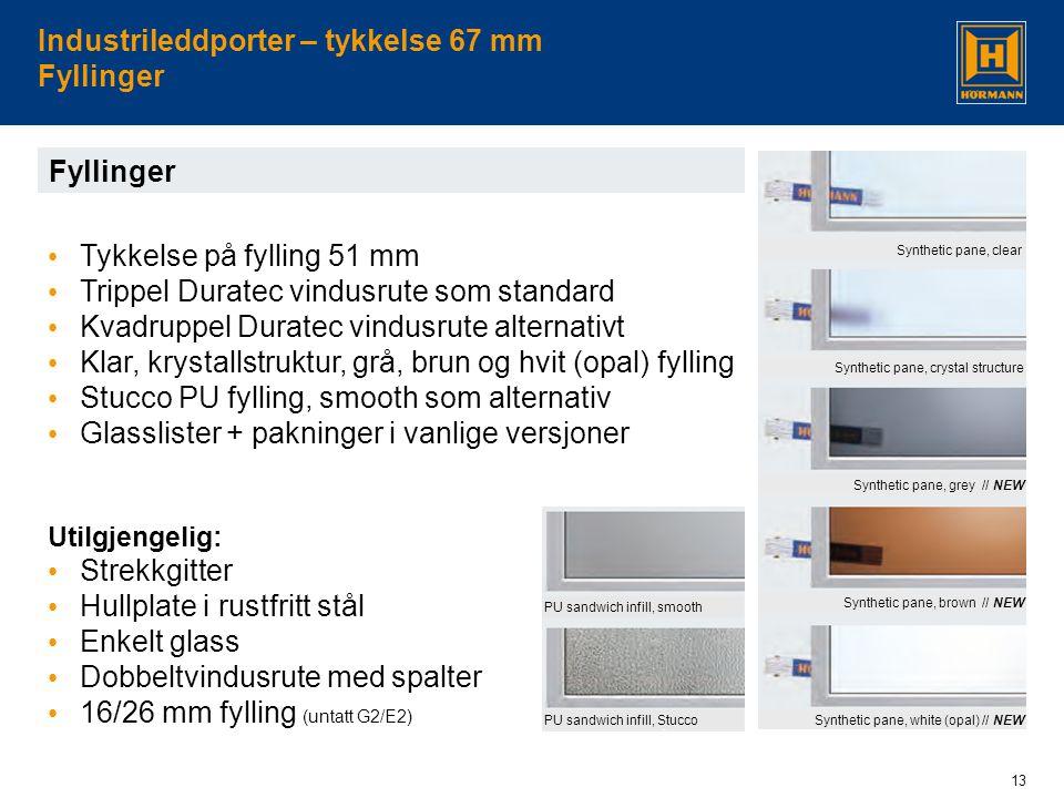 Industrileddporter – tykkelse 67 mm Fyllinger
