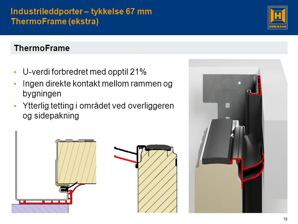 Industrileddporter – tykkelse 67 mm ThermoFrame (ekstra)