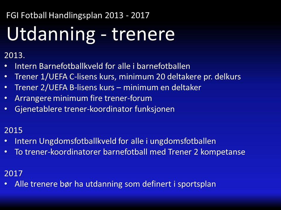 Utdanning - trenere FGI Fotball Handlingsplan 2013 - 2017 2013.