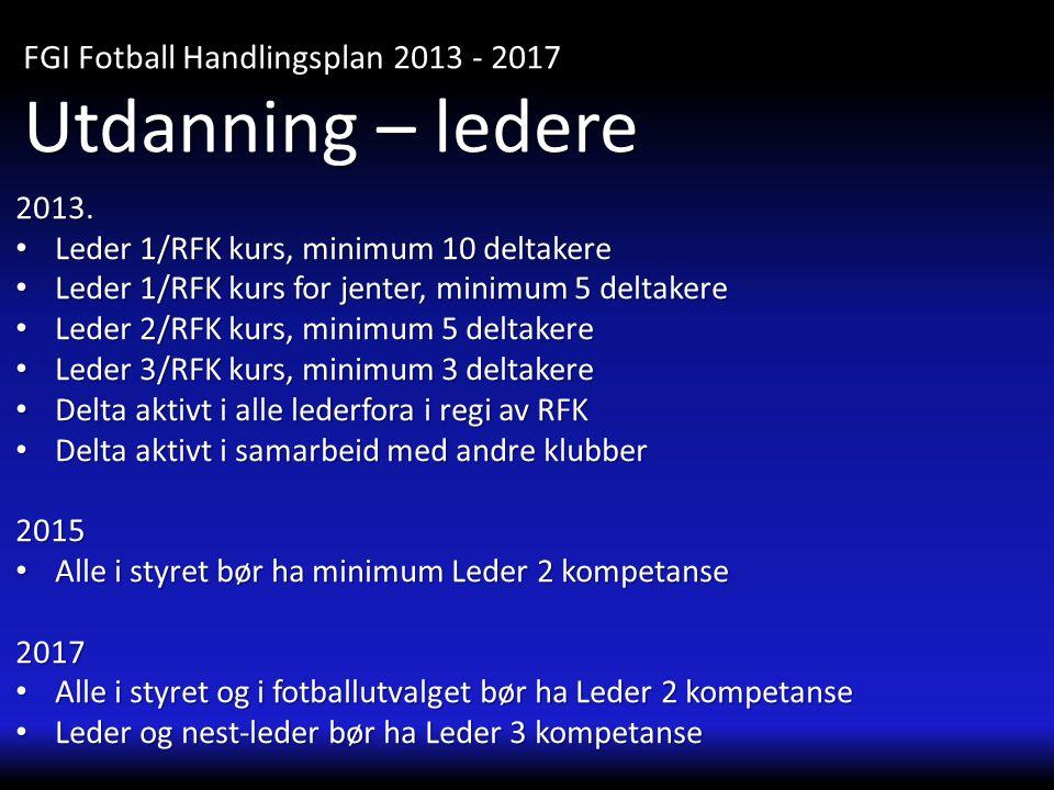 Utdanning – ledere FGI Fotball Handlingsplan 2013 - 2017 2013.