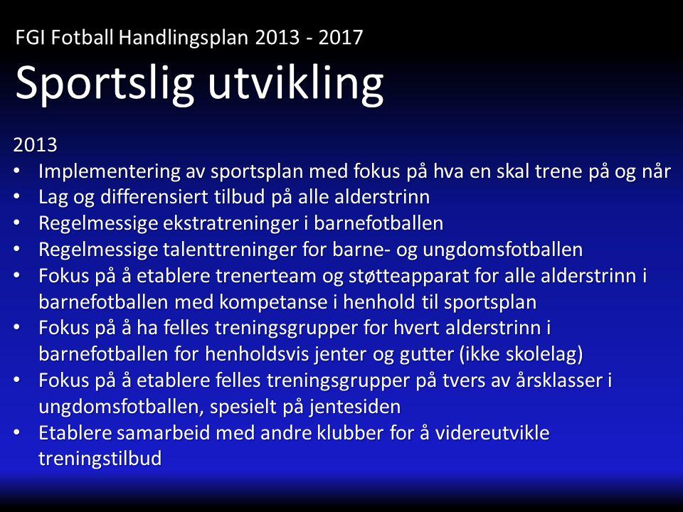 Sportslig utvikling FGI Fotball Handlingsplan 2013 - 2017 2013