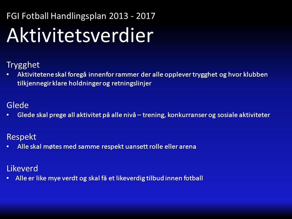 Aktivitetsverdier FGI Fotball Handlingsplan 2013 - 2017 Trygghet Glede