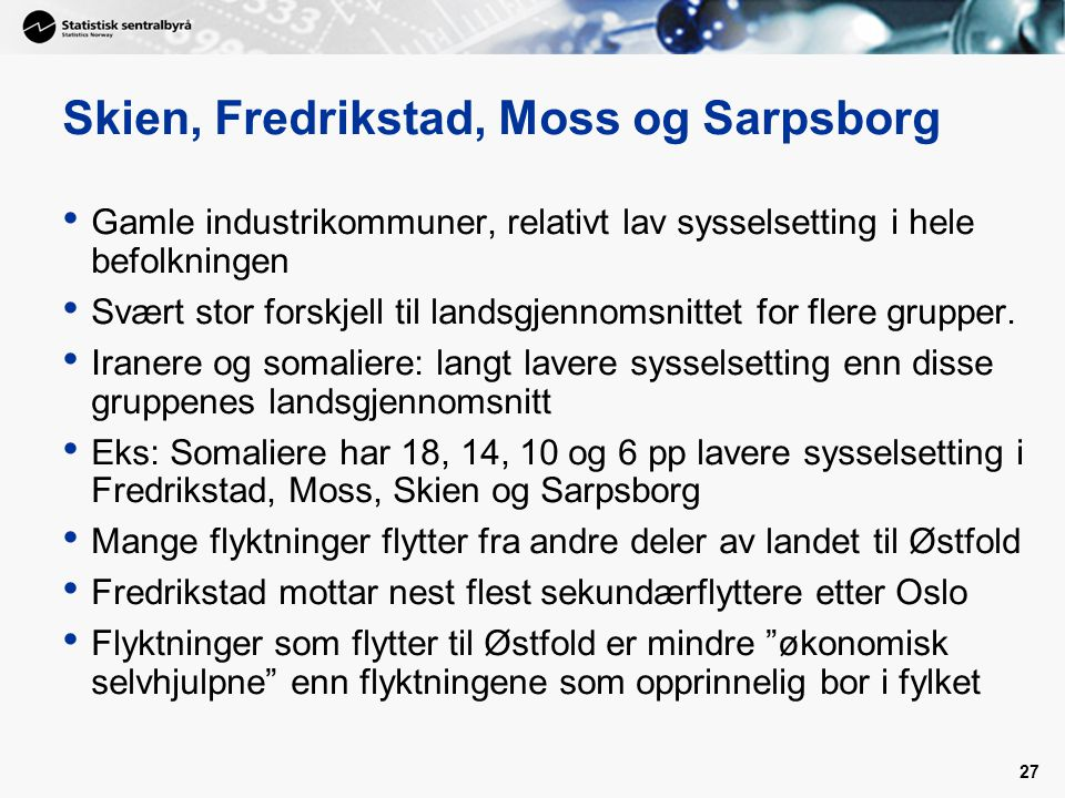 Skien, Fredrikstad, Moss og Sarpsborg