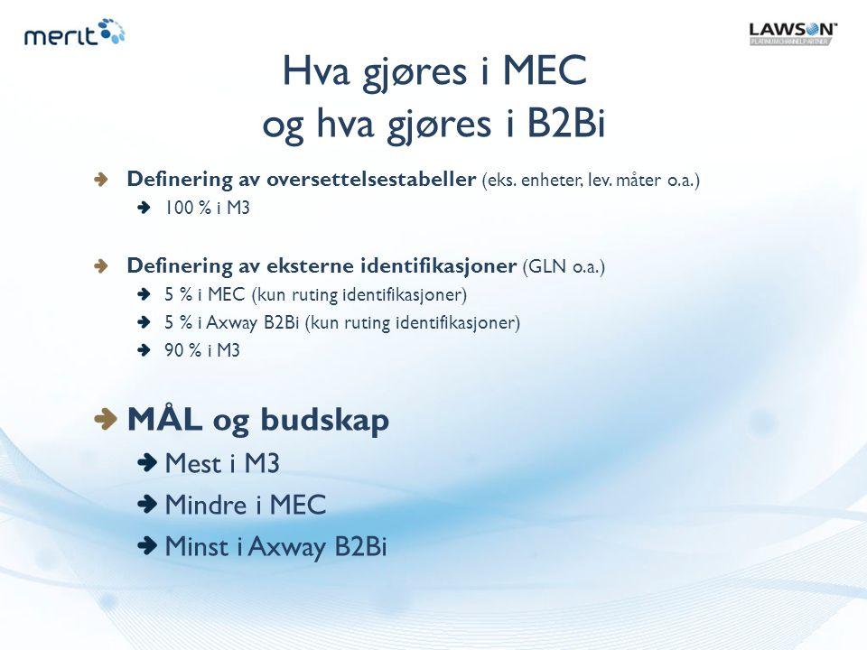 Hva gjøres i MEC og hva gjøres i B2Bi MÅL og budskap Mest i M3