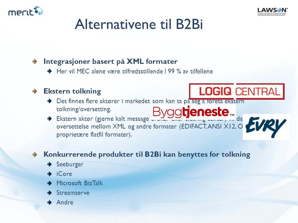 Alternativene til B2Bi Integrasjoner basert på XML formater