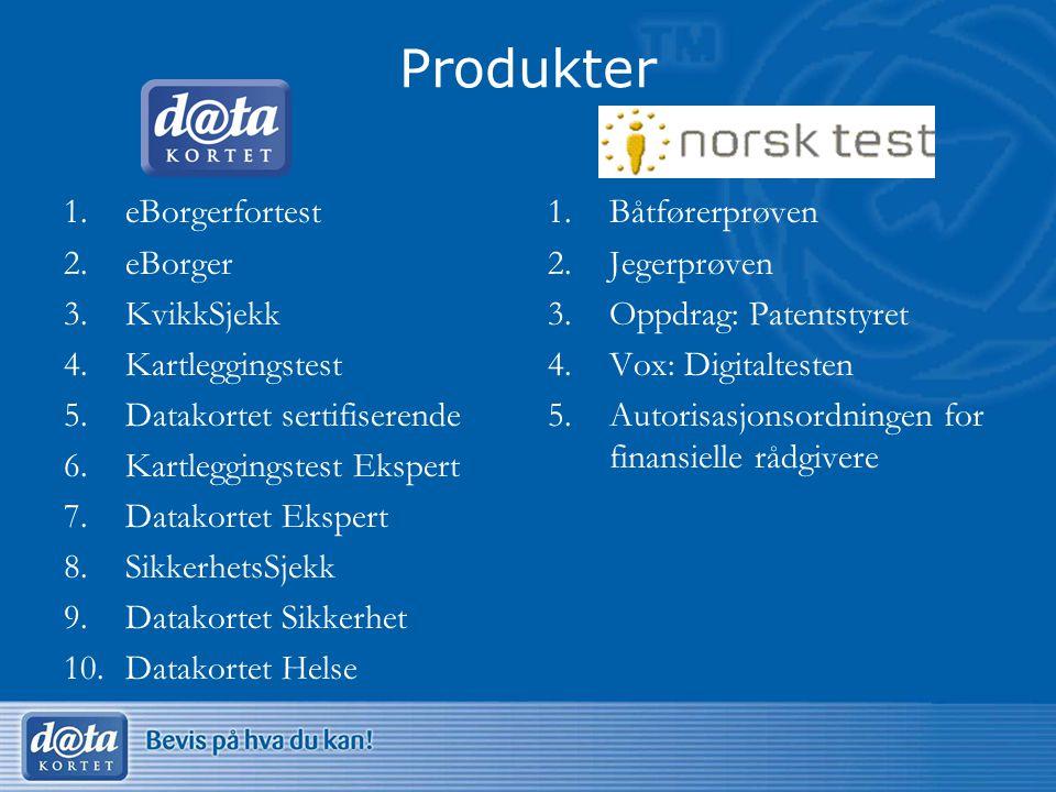 Produkter eBorgerfortest eBorger KvikkSjekk Kartleggingstest