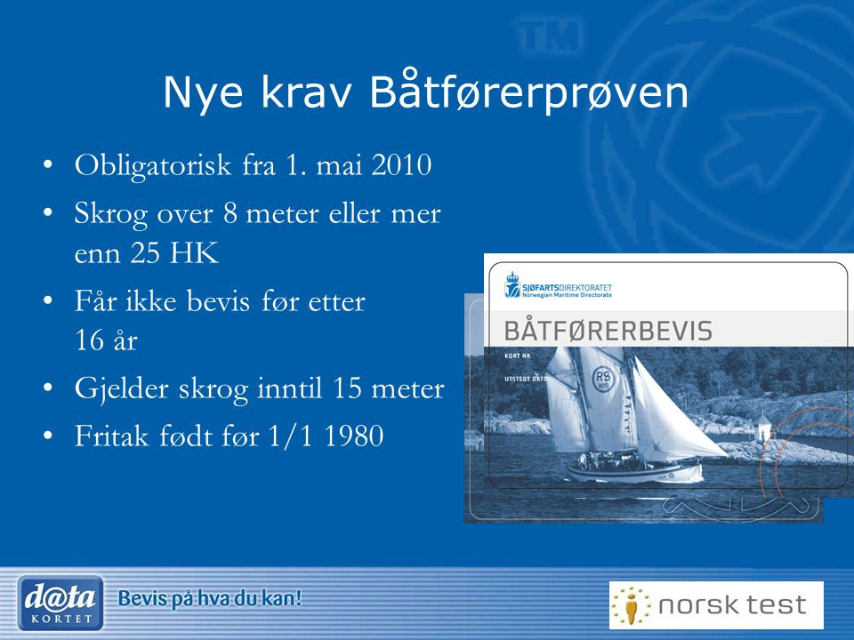 Nye krav Båtførerprøven