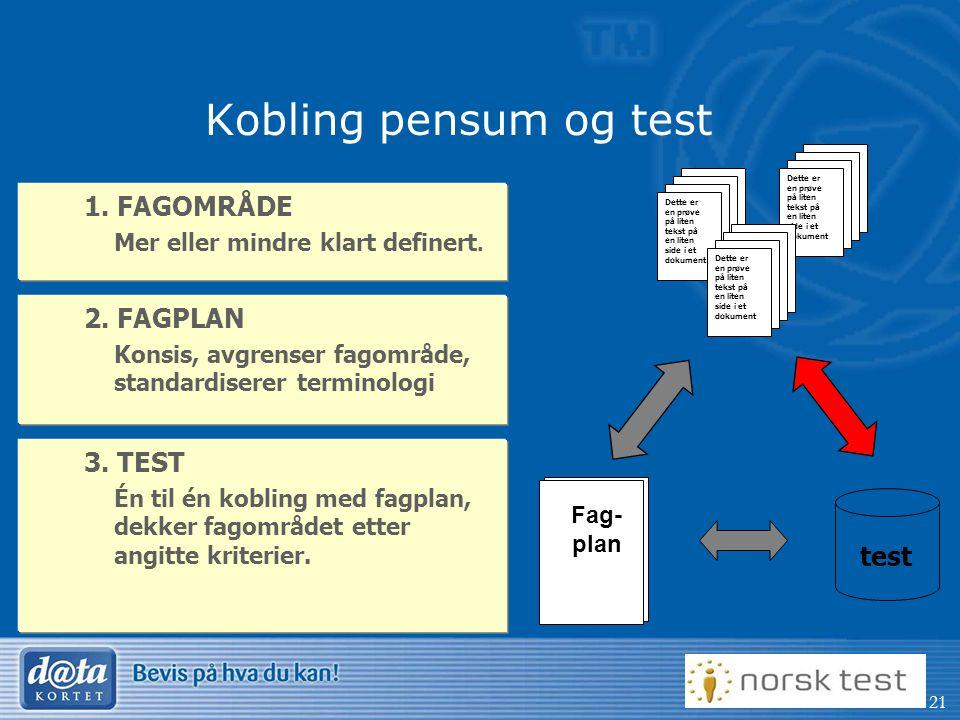 Kobling pensum og test 1. FAGOMRÅDE 2. FAGPLAN 3. TEST test